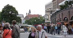 UHD 4K Viktualienmarkt Old Square Munich Shopping Street Busy City Street Shops Stock Footage