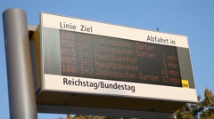 Screen for buses in berlin Stock Footage