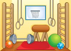 Sport and gym theme image - illustration. Piirros