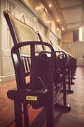 An old auditorium chair series, detail, vintage Stock Photos