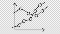 Graph line drawing illustration animation with transparent background Stock Footage
