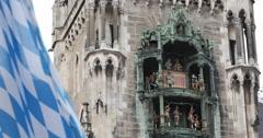 Ultra HD 4K Bavaria Flag Famous German Icon Glockenspiel Chimes Bells Munich Stock Footage