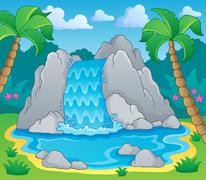 Stock Illustration of image with waterfall theme - illustration.