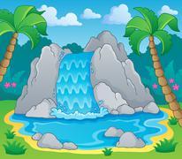 image with waterfall theme - illustration. - stock illustration