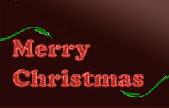 merry christmas red glassy translucent with green leaves - stock illustration