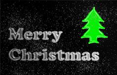 Stock Illustration of merry christmas glassy translucent with christmas tree