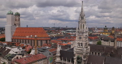 Ultra HD 4K Aerial View Munich Marienplatz Above Central City Germany Sunny Day Stock Footage