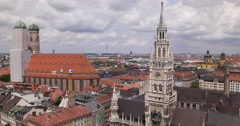 UHD 4K Munich Skyline City Aerial View Establishing Shot Cityscape Marienplatz Stock Footage