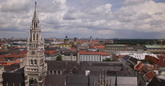 UltraHD 4K Munich Skyline Aerial View Establishing Shot Sunny Day New Town Hall Stock Footage