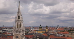 UltraHD 4K Munich Germany Old Town Scenery Aerial View Residential Houses Roofs Stock Footage