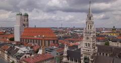 UHD 4K Pan Right Munich Skyline Establishing Shot Aerial View Panoramic City Stock Footage