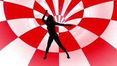 Dancer  silhouette Checker red Tunnel  motion background Stock Footage
