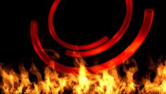 Flame and rings. The visual effect for  logo , text , name - stock footage