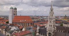 Ultra HD 4K Aerial View Panoramic Pan Right Munich Skyline Establishing Shot Stock Footage
