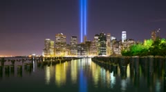 Memorial day manhattan night towers of light 4k time lapse from 11 of september Stock Footage