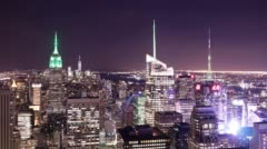 Night light manhattan view 4k time lapse from nyc top of the rock Stock Footage