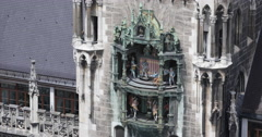 Ultra HD 4K German Symbol Icon Glockenspiel Chimes Munich New Town Hall Rathaus Stock Footage