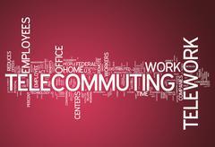 Stock Illustration of word cloud telecommuting