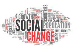 word cloud social change - stock illustration