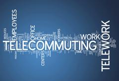 Stock Illustration of word cloud telecommuting