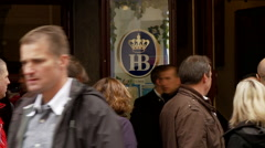 Hofbrauhaus Munich Sign with Mime Stock Footage