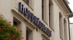 Hofbrauhaus Sign in Munich Germany Stock Footage