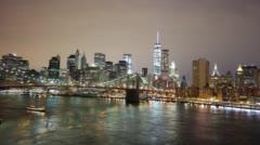 Manhattan bridge night light panorama 4k time lapse NYC Stock Footage
