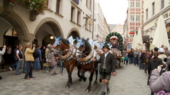 Beer Wagon on Street in Munich Germany Stock Footage