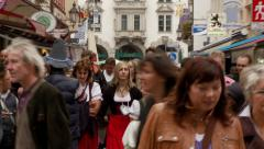 Crowd Shopping at Busy European Street Stock Footage