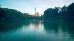 Sunset central park lake 4k time lapse from new york Stock Footage