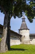 The Pskov ancient stronghold wall and fortress tower Stock Photos