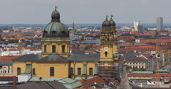 Ultra HD 4K UHD Munich Aerial View Establishing Shot Residential Houses Roof Day Stock Footage