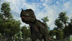 T-Rex Tyrannosaurus Dinosaur walks - 4k Stock Footage