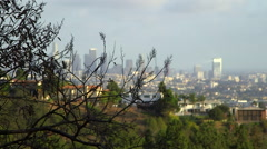 Focus pull to Los Angeles Downtown Stock Footage