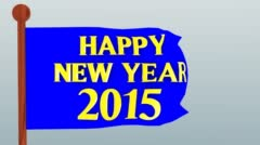 Happy new year 2015 on a flag Stock Footage