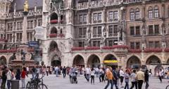 UltraHD 4K Mariensaule Marienplatz Munich Pedestrians Walk Crowd Crossing Square Stock Footage