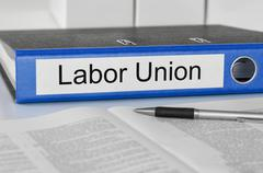 folder with the label labor union - stock photo