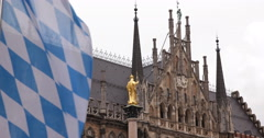Ultra HD 4K German Bavarian Flag Mariensaule Marian Column Golden Statue Munich Stock Footage