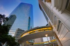 Houston downtown sunset skyscrapers texas Stock Photos