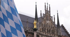 UltraHD 4K Bavarian Flag Mariensaule Virgin Mary Marienplatz Munich Town Hall Stock Footage