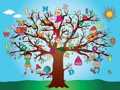 Tree school children Piirros