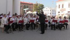 Belarus, Minsk, September 2014. Orchestra playing on square in Minsk Stock Footage