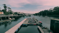 Port at sunset - stock footage