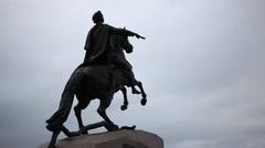 Bronze Horseman is on the background of dark sky, Saint-Petersburg, Russia Stock Footage