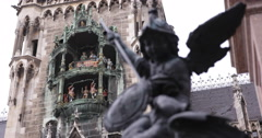 Ultra HD 4K Famous Munich Landmark Glockenspiel New Town Hall Putto Killing Stock Footage