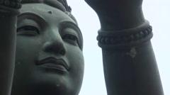 Buddhistic Statues praising in Lantau Island, in Hong Kong 2013.-Dan - stock footage