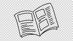 Open Book line drawing illustration animation with transparent background Stock Footage
