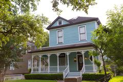 houston heights blvd townhouses in texas us - stock photo