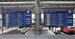 UHD 4K Munich Central Main Railway Station Departure Board Schedule Timetable Stock Footage