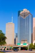 houston skyline from allen parkway at texas us - stock photo